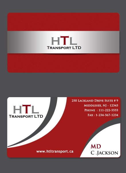 Business Card Design by Crystal Desizns - Entry No. 41 in the Business Card Design Contest Fun Business Card Design for HTL Transport LTD.
