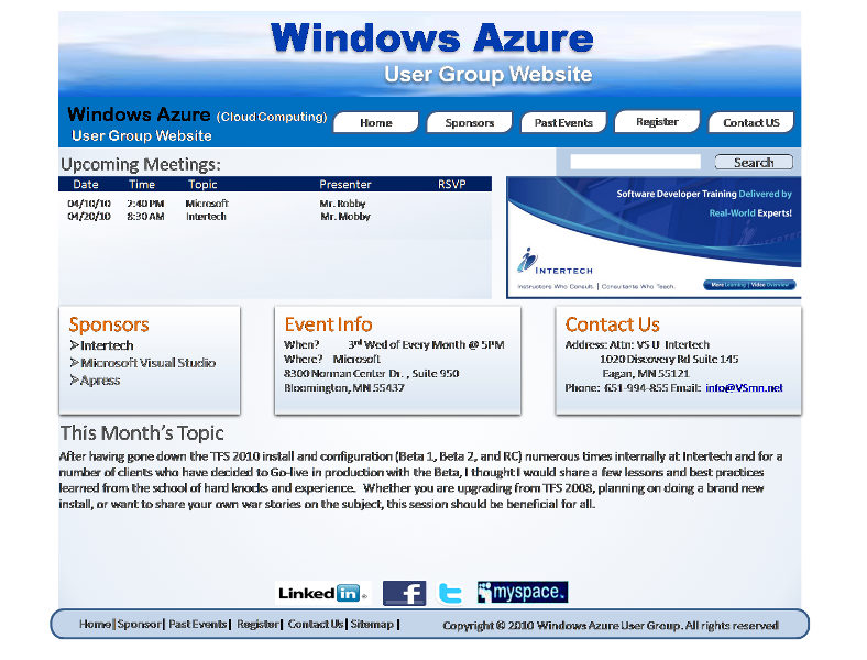 Web Page Design by openartposter - Entry No. 37 in the Web Page Design Contest Windows Azure (Cloud Computing) User Group Website.