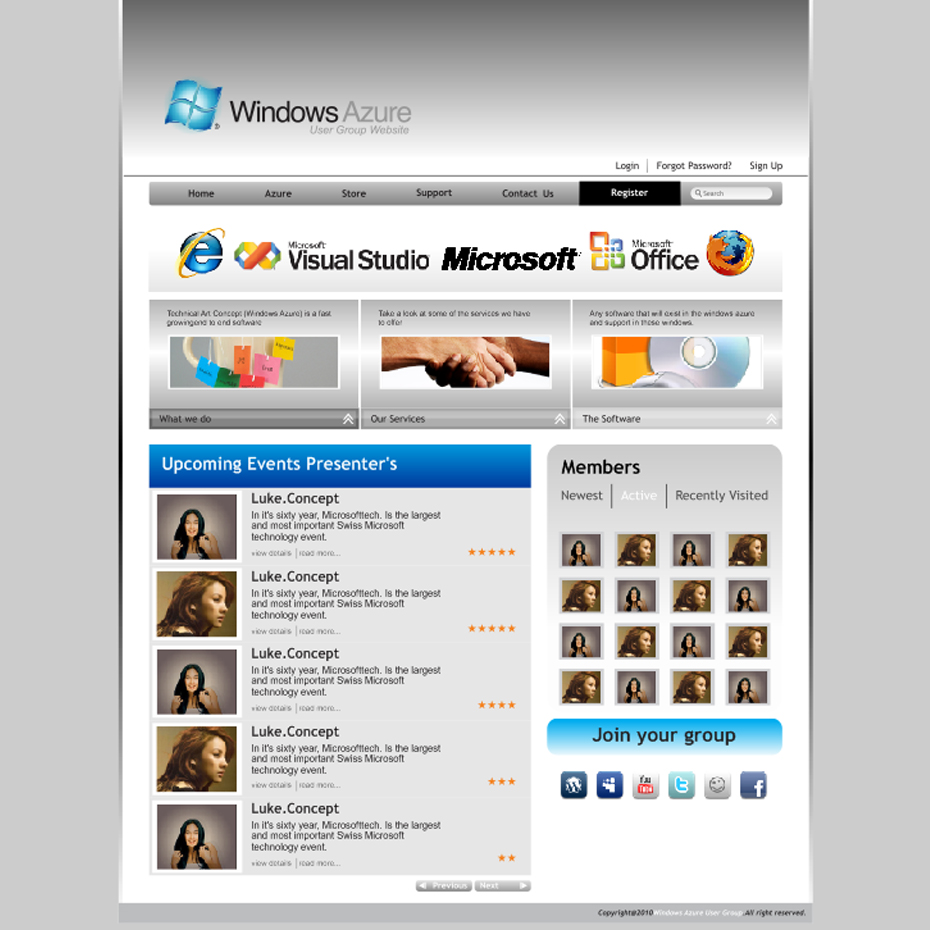 Web Page Design by LukeConcept - Entry No. 39 in the Web Page Design Contest Windows Azure (Cloud Computing) User Group Website.