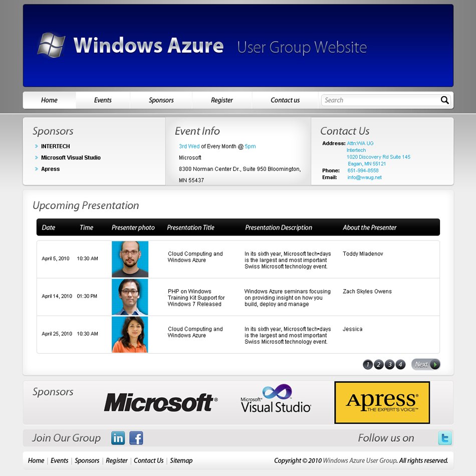 Web Page Design by 3dking - Entry No. 47 in the Web Page Design Contest Windows Azure (Cloud Computing) User Group Website.