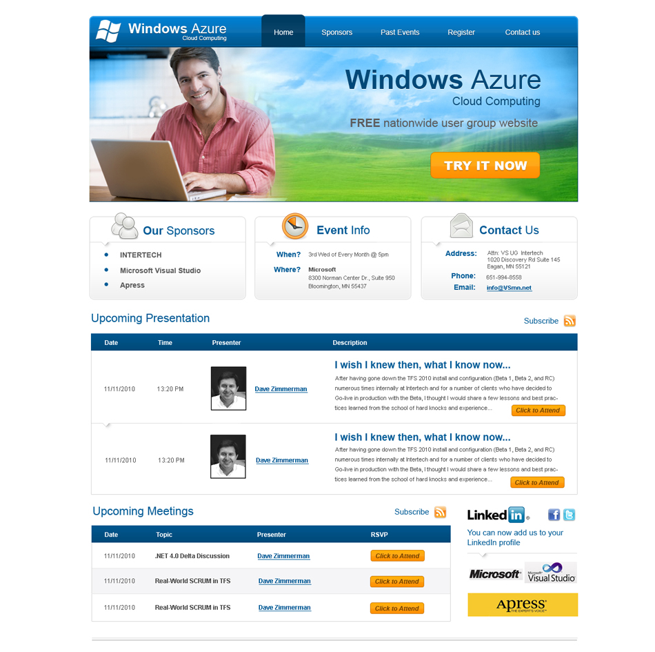 Web Page Design by Anutik - Entry No. 48 in the Web Page Design Contest Windows Azure (Cloud Computing) User Group Website.