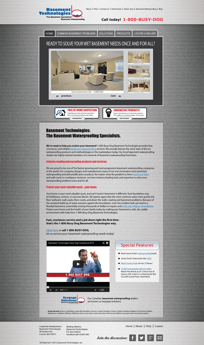 Web Page Design by Lefky - Entry No. 3 in the Web Page Design Contest Modern Web Page Design for Basement Technologies.