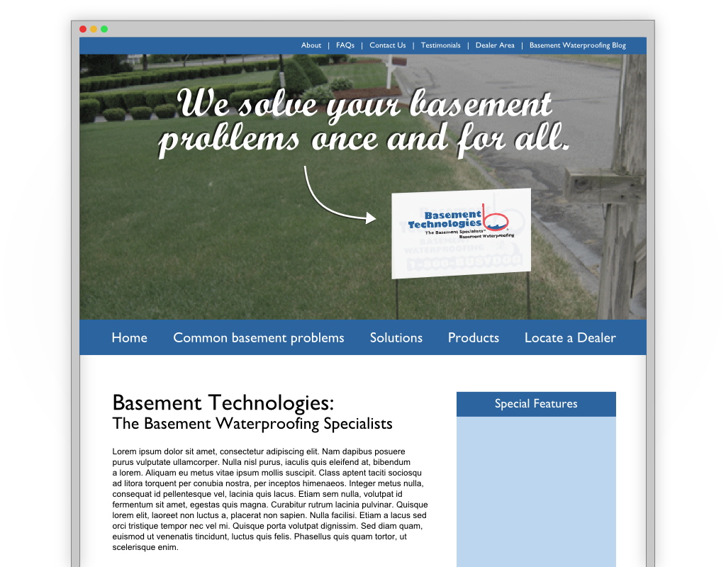 Web Page Design by Alfred Xing - Entry No. 5 in the Web Page Design Contest Modern Web Page Design for Basement Technologies.