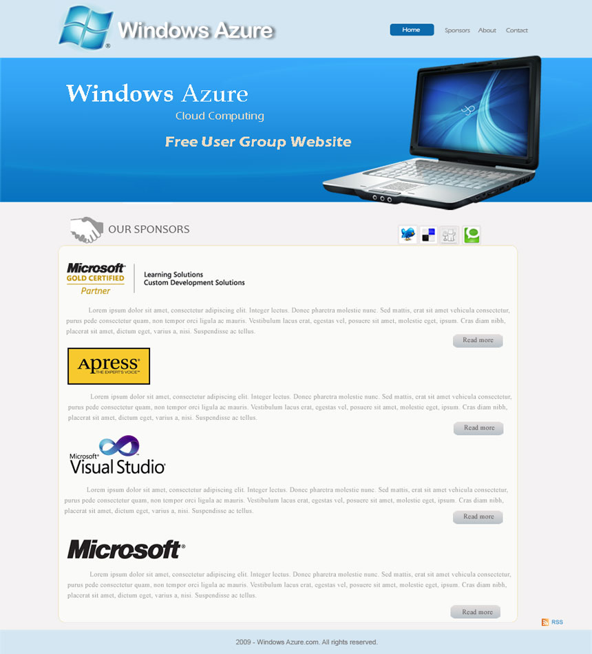Web Page Design by logoziner - Entry No. 56 in the Web Page Design Contest Windows Azure (Cloud Computing) User Group Website.