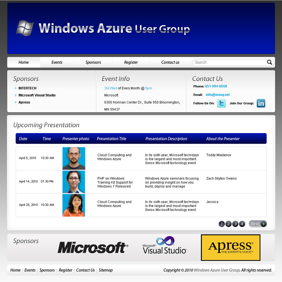 Web Page Design by 3dking - Entry No. 57 in the Web Page Design Contest Windows Azure (Cloud Computing) User Group Website.