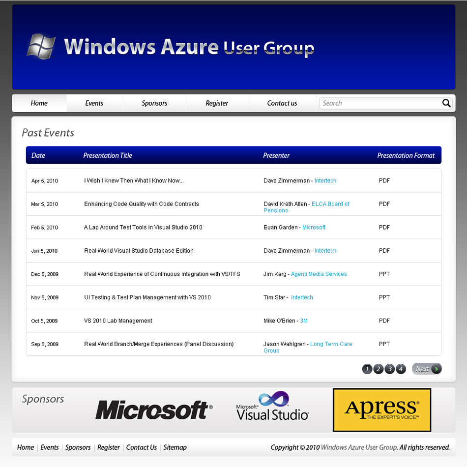 Web Page Design by 3dking - Entry No. 58 in the Web Page Design Contest Windows Azure (Cloud Computing) User Group Website.