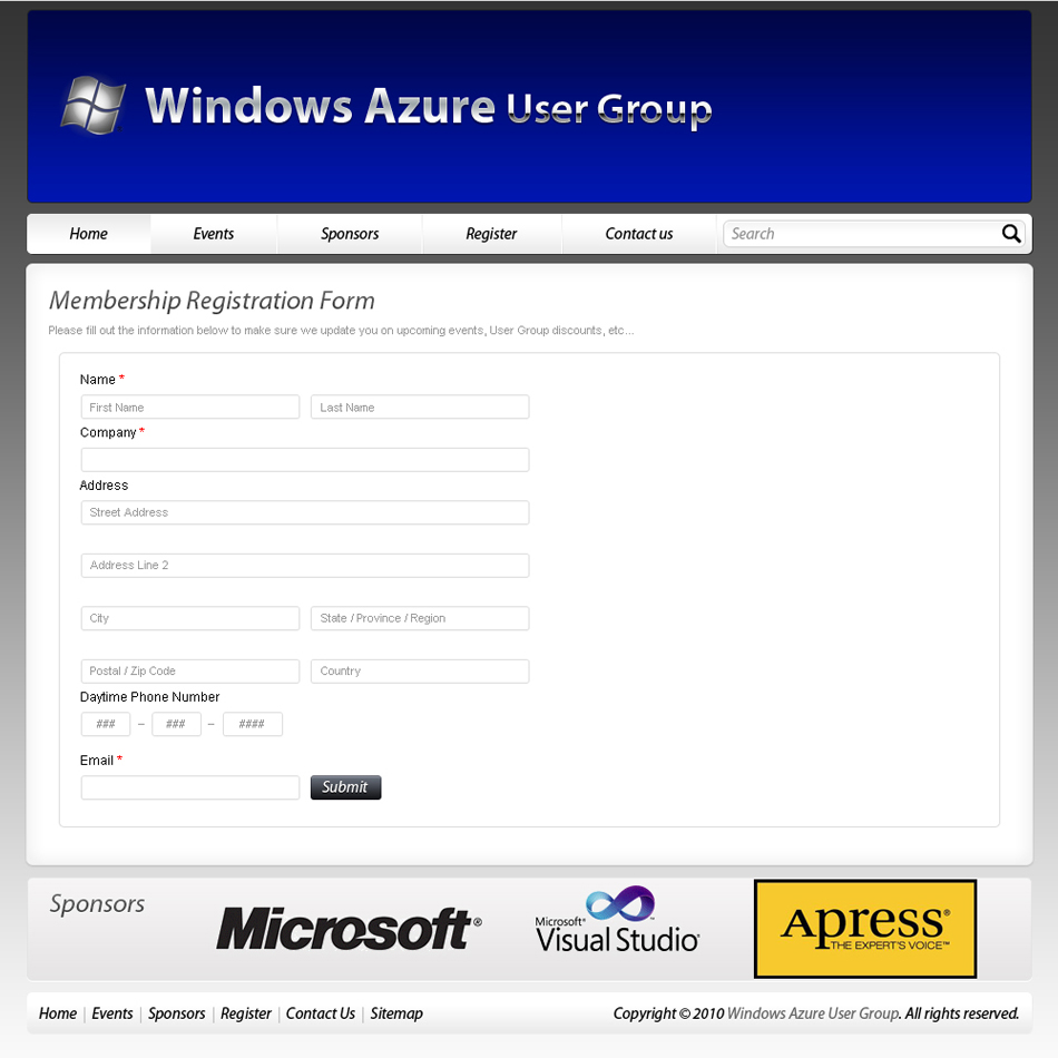 Web Page Design by 3dking - Entry No. 59 in the Web Page Design Contest Windows Azure (Cloud Computing) User Group Website.