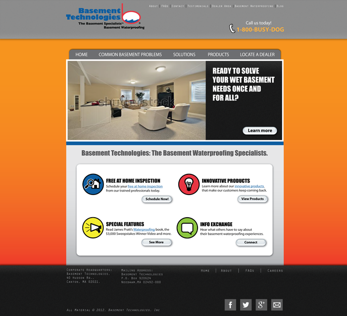 Web Page Design by Lefky - Entry No. 10 in the Web Page Design Contest Modern Web Page Design for Basement Technologies.