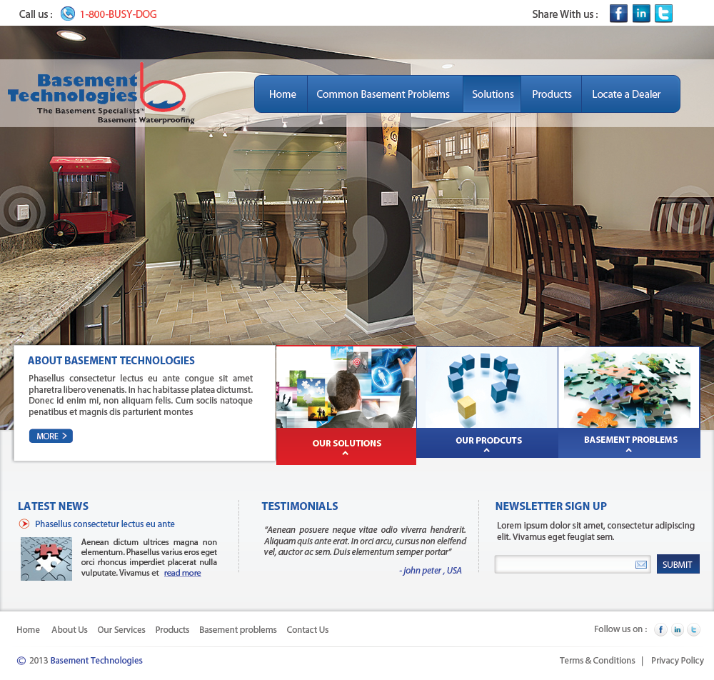 Web Page Design by Vishwa Km - Entry No. 14 in the Web Page Design Contest Modern Web Page Design for Basement Technologies.