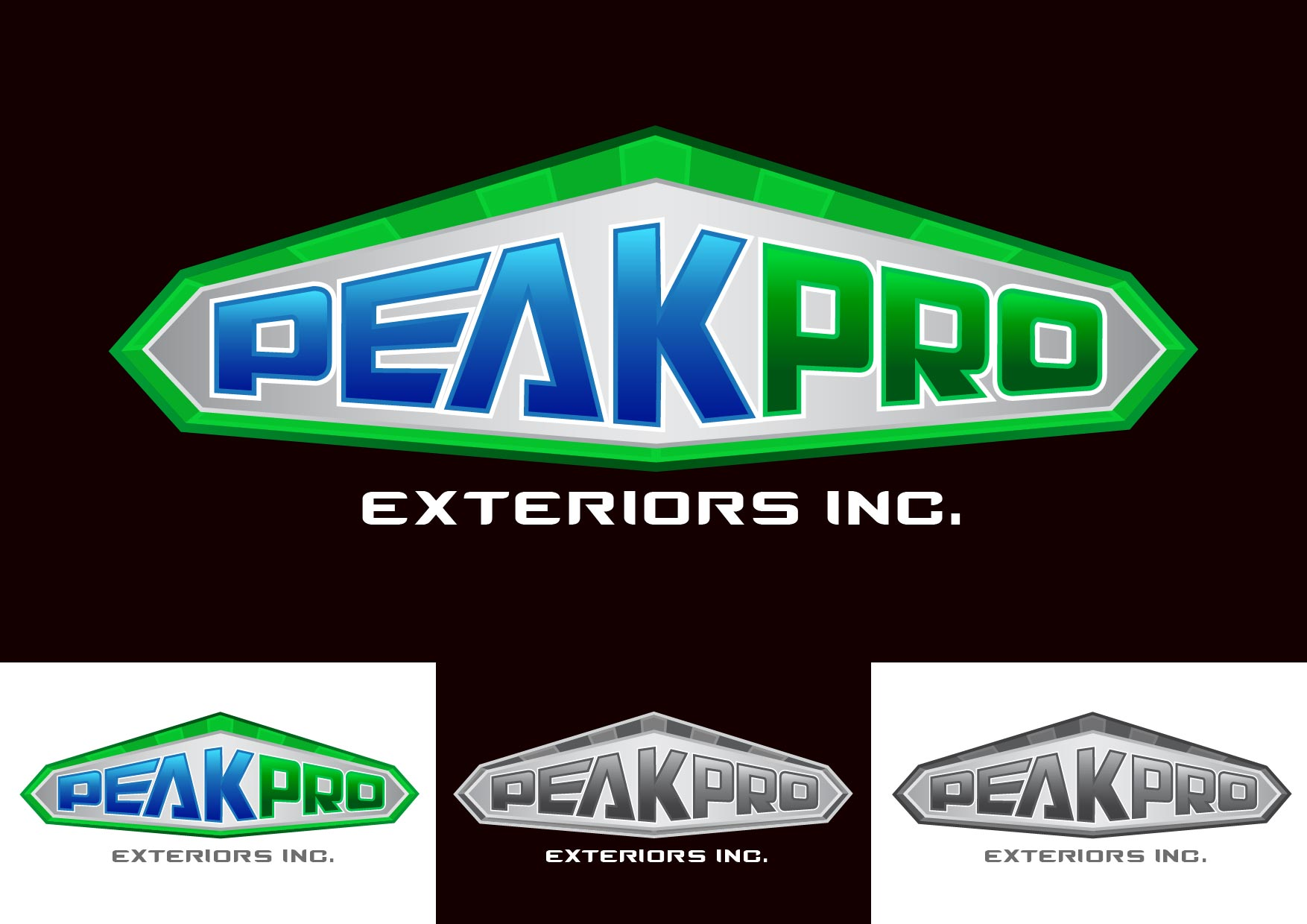 Logo Design by Emil Angelo Osias - Entry No. 21 in the Logo Design Contest Captivating Logo Design for Peakpro Exteriors Inc..