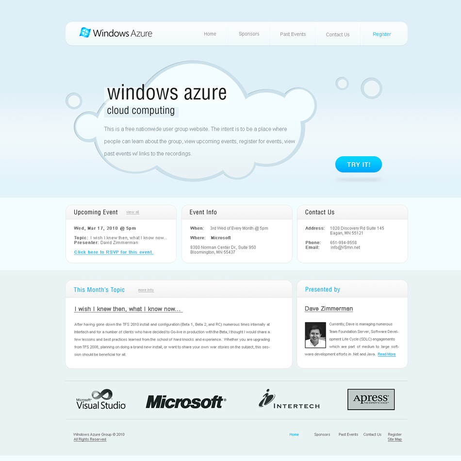 Web Page Design by classic - Entry No. 66 in the Web Page Design Contest Windows Azure (Cloud Computing) User Group Website.