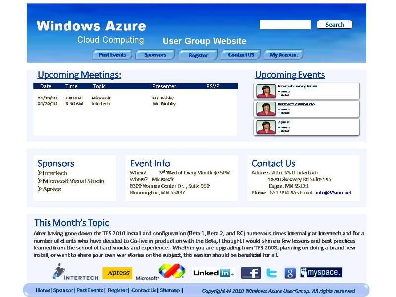 Web Page Design by openartposter - Entry No. 72 in the Web Page Design Contest Windows Azure (Cloud Computing) User Group Website.