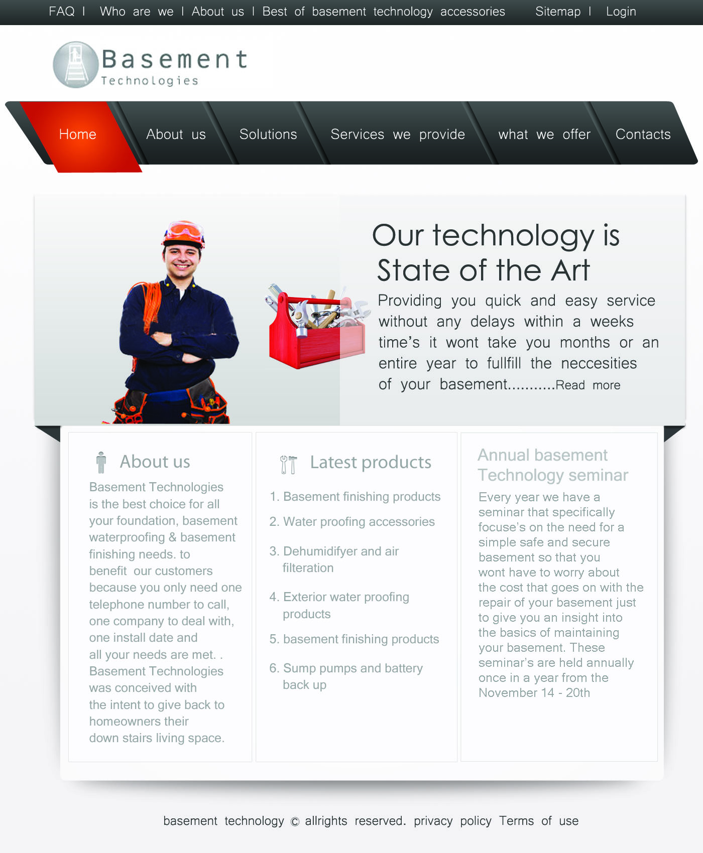 Web Page Design by Vivek Singh - Entry No. 28 in the Web Page Design Contest Modern Web Page Design for Basement Technologies.