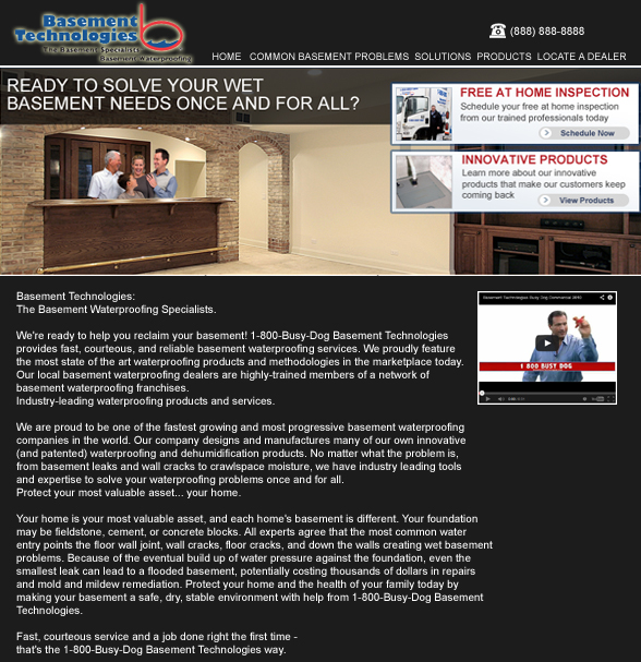 Web Page Design by tsyrette - Entry No. 29 in the Web Page Design Contest Modern Web Page Design for Basement Technologies.