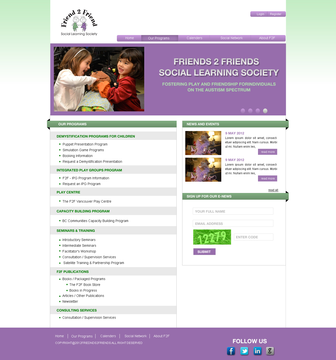 Web Page Design by Private User - Entry No. 5 in the Web Page Design Contest Web Page Design Needed for Exciting New Company Friend 2 Friend Social Learning Society.