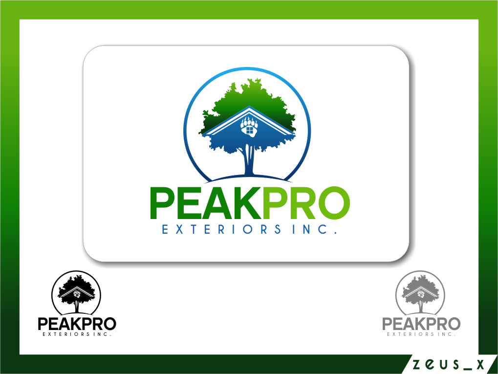 Logo Design by Ngepet_art - Entry No. 178 in the Logo Design Contest Captivating Logo Design for Peakpro Exteriors Inc..