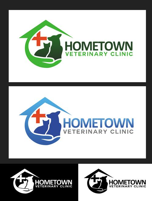 Logo Design by Respati Himawan - Entry No. 40 in the Logo Design Contest Captivating Logo Design for Hometown Veterinary Clinic.