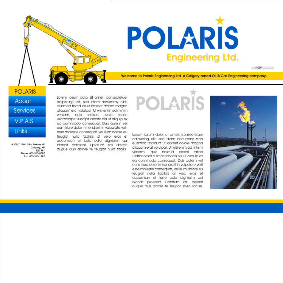Web Page Design by Rudy - Entry No. 2 in the Web Page Design Contest Polaris Engineering Ltd. requires a new re-branded landing p.