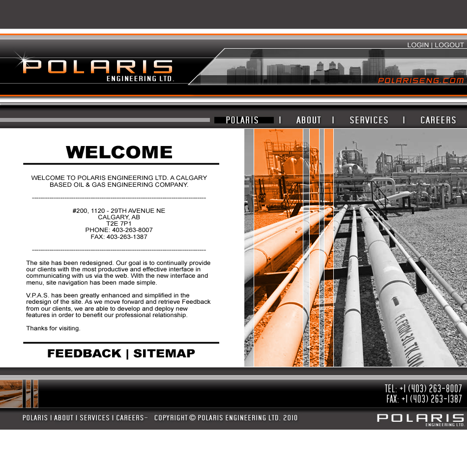 Web Page Design by ImFrancis - Entry No. 7 in the Web Page Design Contest Polaris Engineering Ltd. requires a new re-branded landing p.