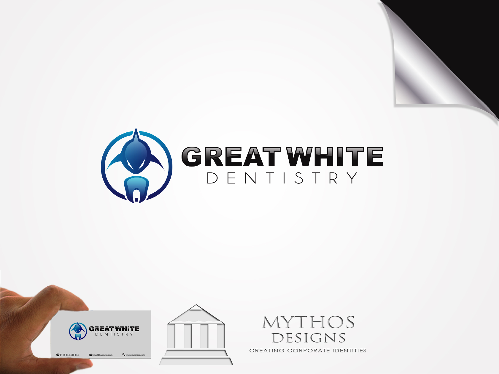 Logo Design by Mythos Designs - Entry No. 90 in the Logo Design Contest Logo Design for Great White Dentistry.