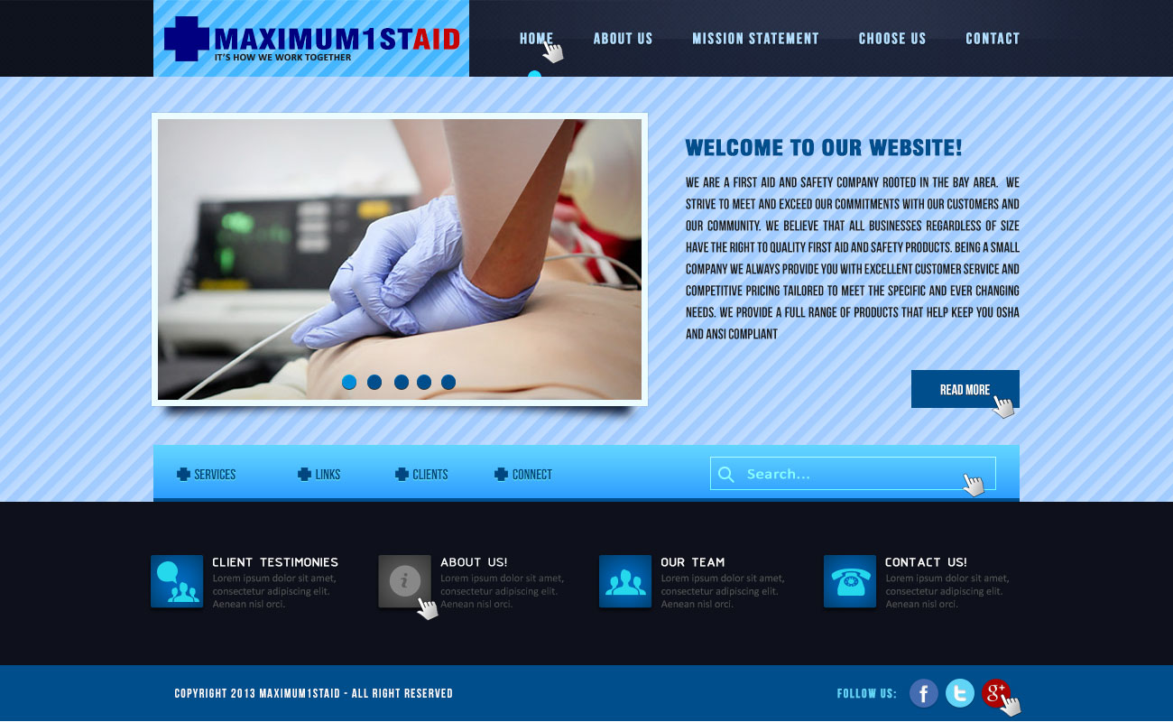 Web Page Design by Virgilio Pineda III - Entry No. 17 in the Web Page Design Contest Inspiring Web Page Design for Maximum 1st Aid.