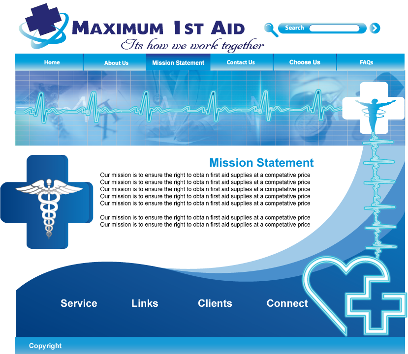 Web Page Design by Sri Lata - Entry No. 31 in the Web Page Design Contest Inspiring Web Page Design for Maximum 1st Aid.