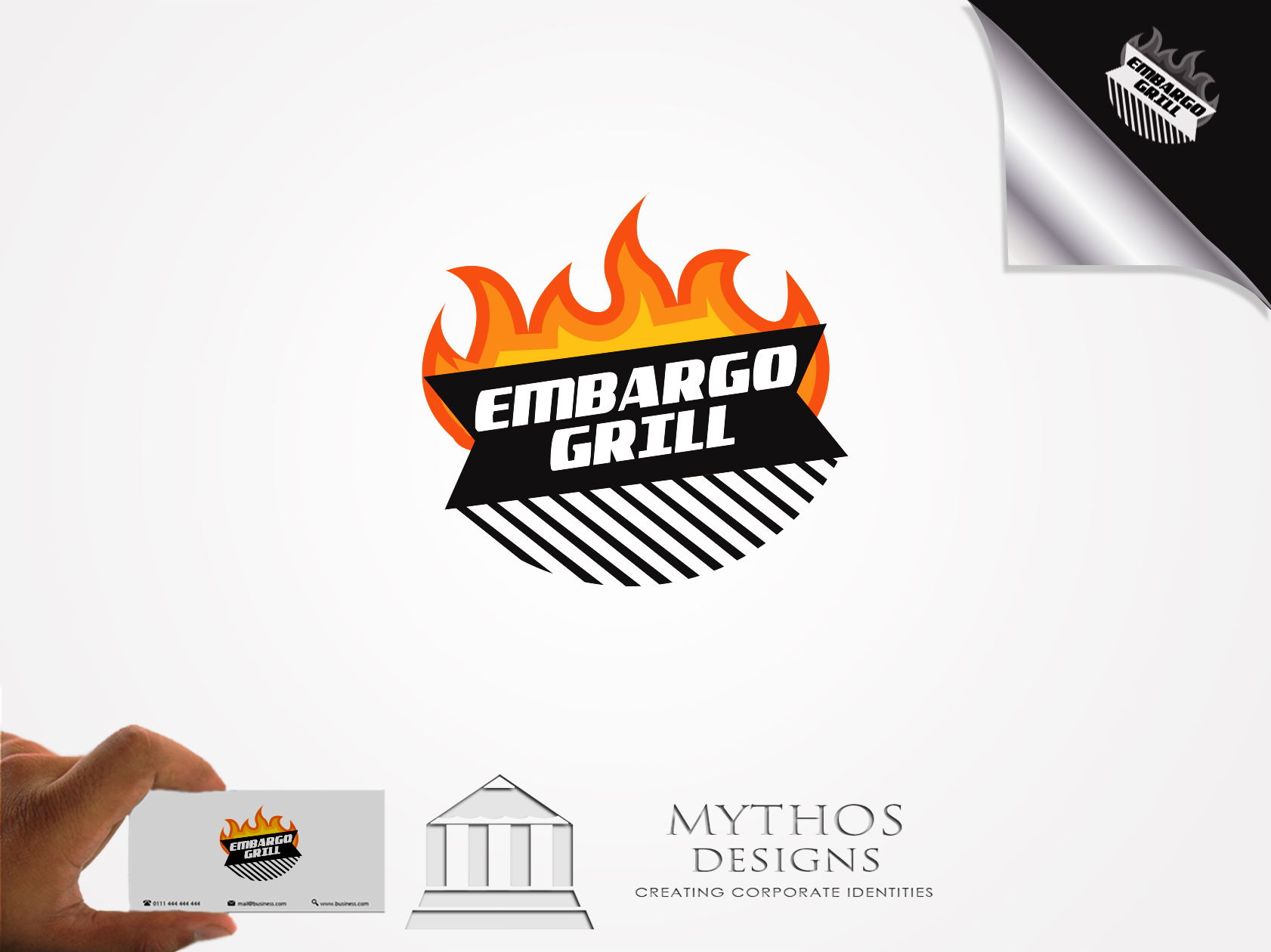 Logo Design by Mythos Designs - Entry No. 11 in the Logo Design Contest Captivating Logo Design for Embargo Grill.