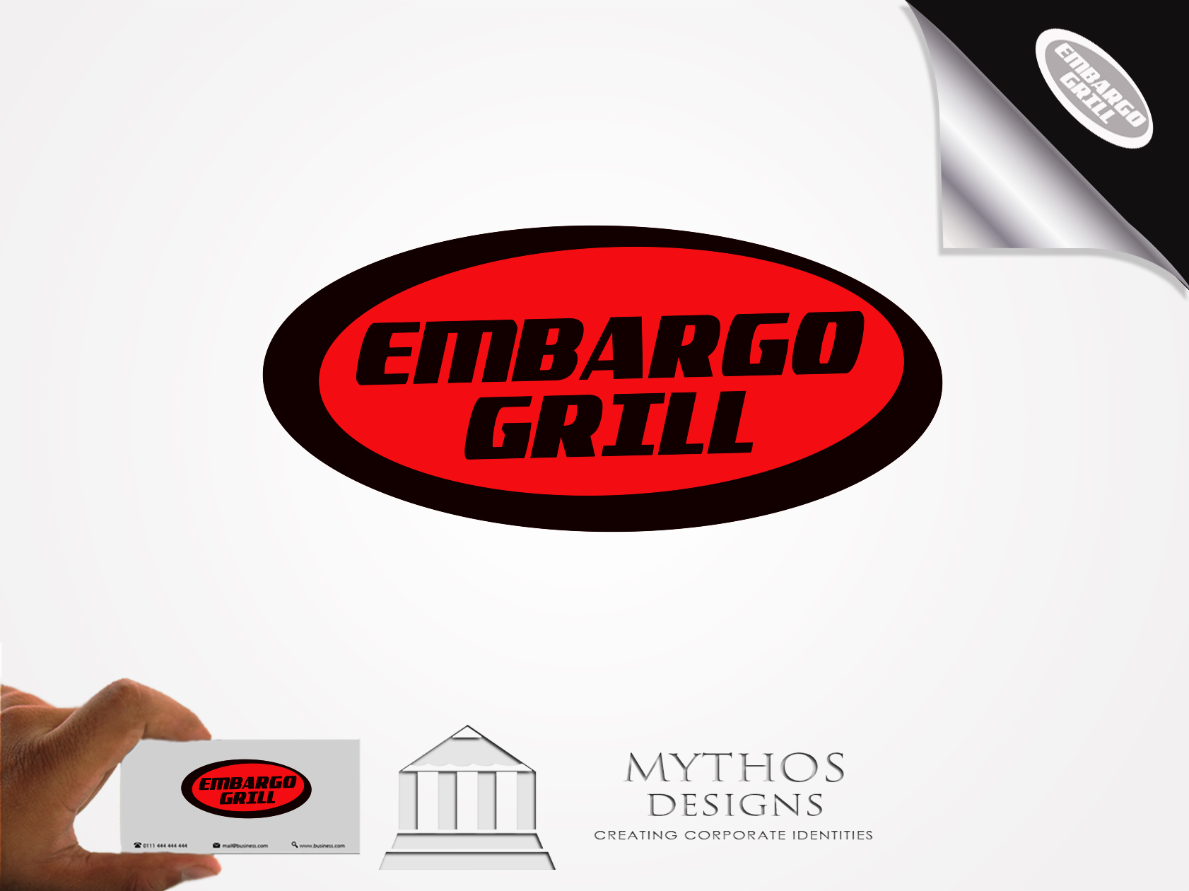 Logo Design by Mythos Designs - Entry No. 12 in the Logo Design Contest Captivating Logo Design for Embargo Grill.