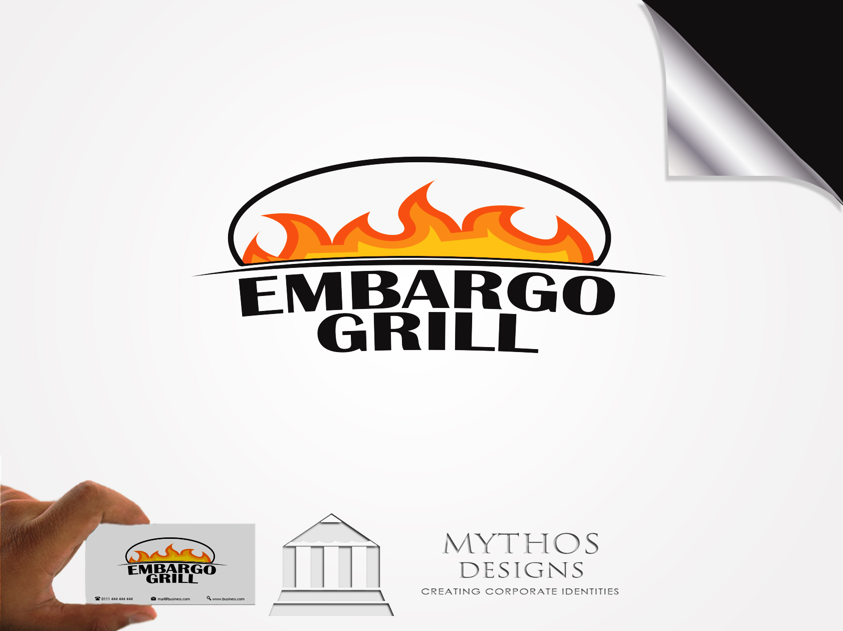 Logo Design by Mythos Designs - Entry No. 13 in the Logo Design Contest Captivating Logo Design for Embargo Grill.