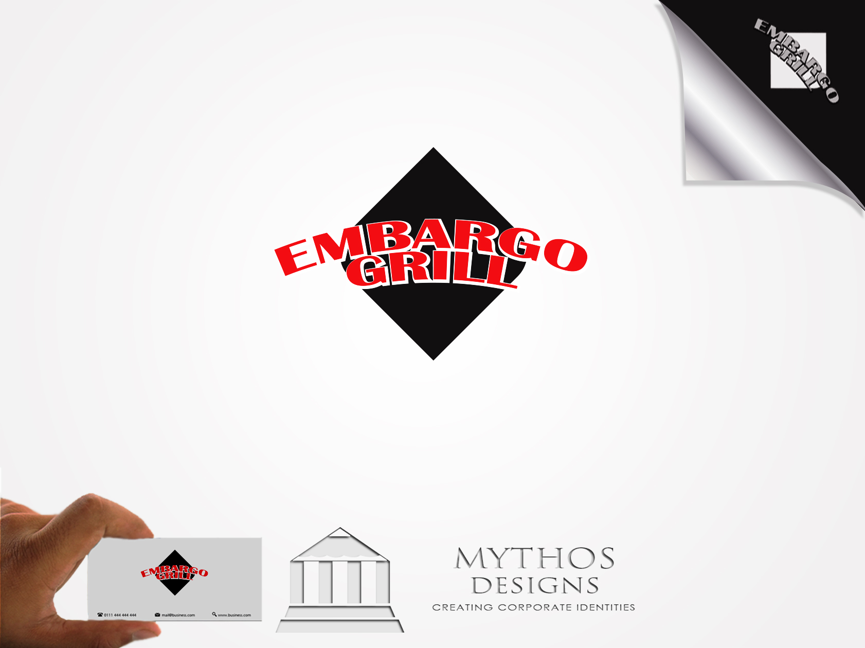 Logo Design by Mythos Designs - Entry No. 15 in the Logo Design Contest Captivating Logo Design for Embargo Grill.