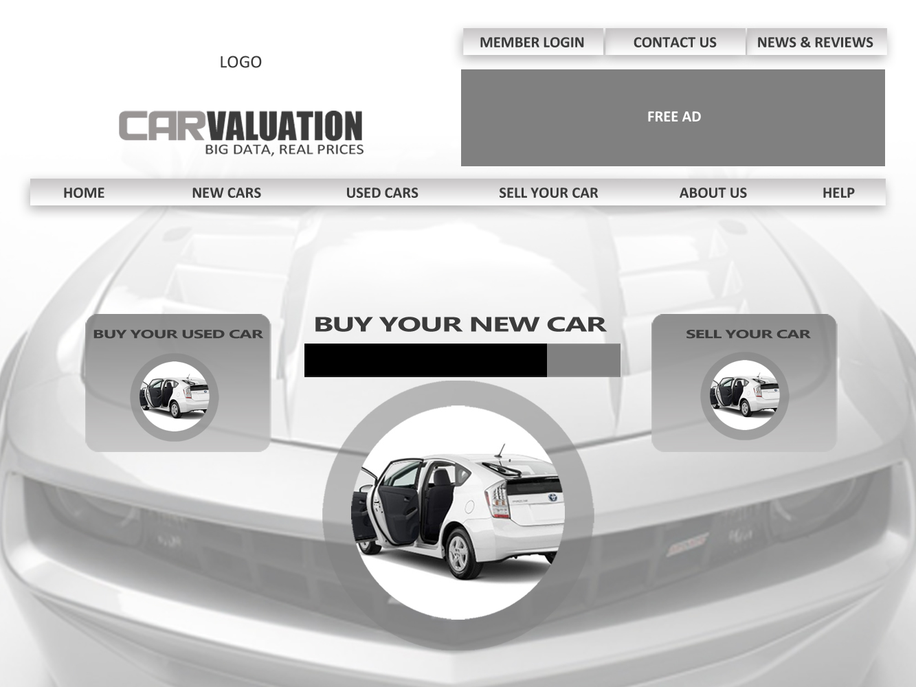 Web Page Design by Private User - Entry No. 73 in the Web Page Design Contest Car valuation Web Page Design.
