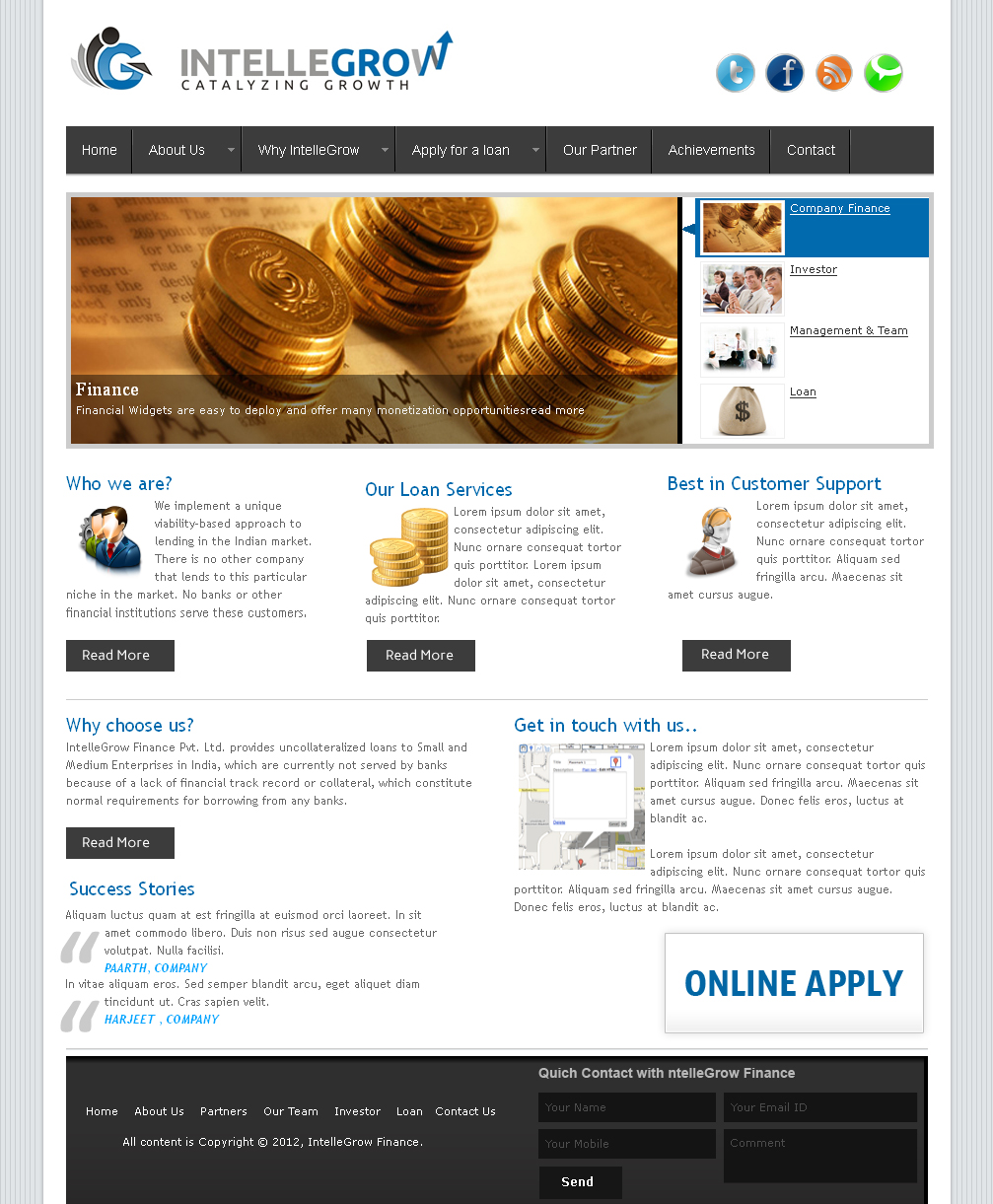 Web Page Design by Shailesh Sharma - Entry No. 2 in the Web Page Design Contest IntelleGrow Finance Web Page Design.