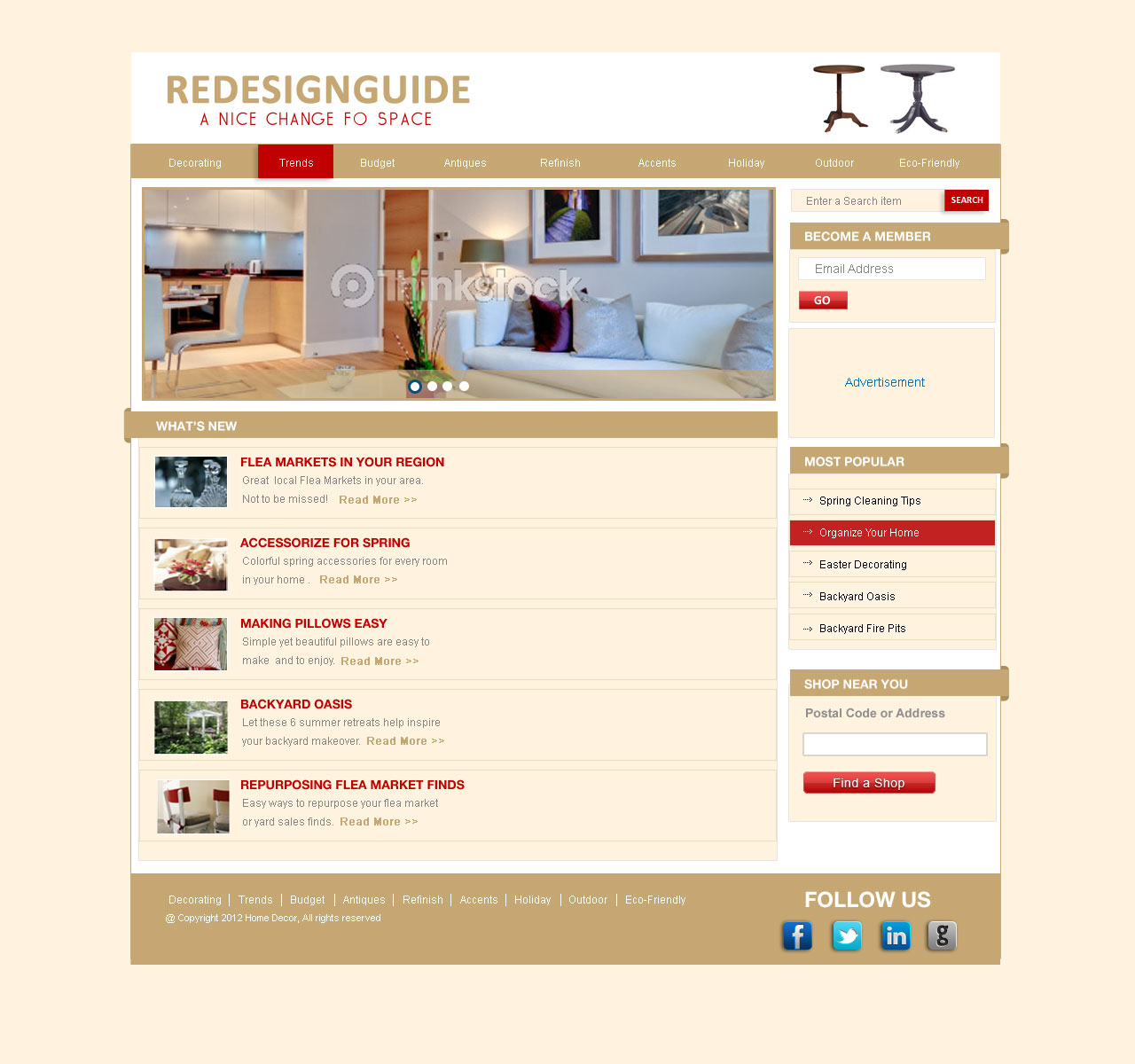 Web Page Design by Private User - Entry No. 16 in the Web Page Design Contest Unique Web Page Design Wanted for Homepage mock up for Home Decor.