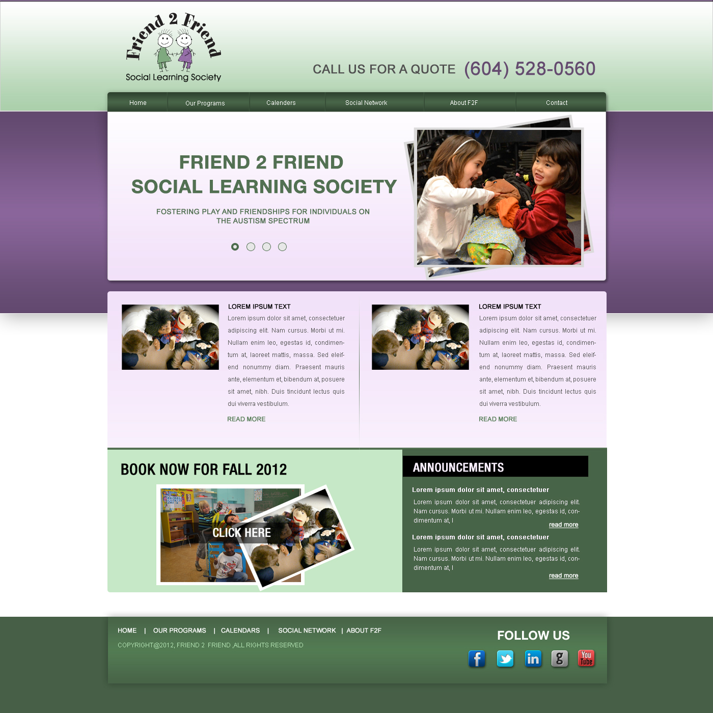 Web Page Design by Private User - Entry No. 14 in the Web Page Design Contest Web Page Design Needed for Exciting New Company Friend 2 Friend Social Learning Society.