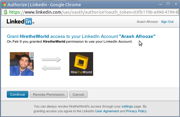 Screenshot of LinkedIn and HiretheWorld Connecting Window - LinkedIn pops this up to confirm that you've given HiretheWorld permission to see your LinkedIn Profile.
