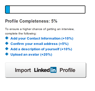 Image of LinkedIn Profile Import Button