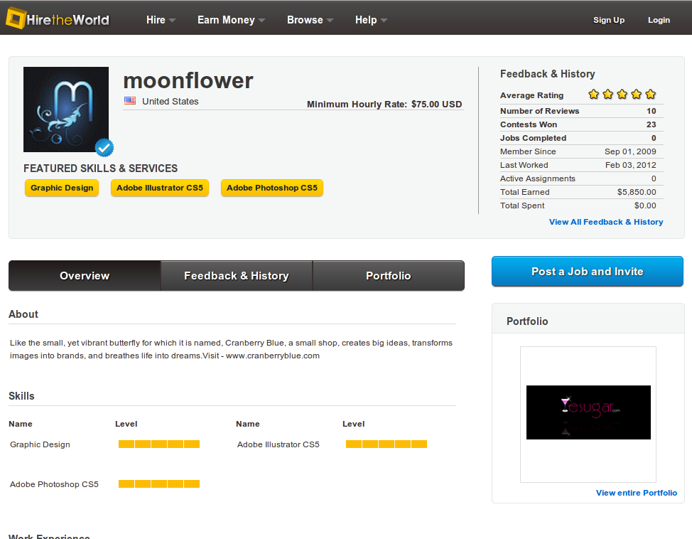 Example of the new look profile pages, showing a screenshot of Moonflowers profile