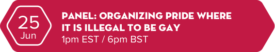 25 jun - Panel: Organising Pride where it is illegal to be gay - 1pm EST / 6pm BST