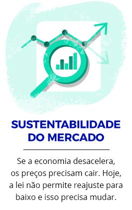 SUSTENTABILIDADE DO MERCADO | Se a economia desacelera, os preços precisam cair. Hoje, a lei não permite reajuste para baixo e isso precisa mudar.