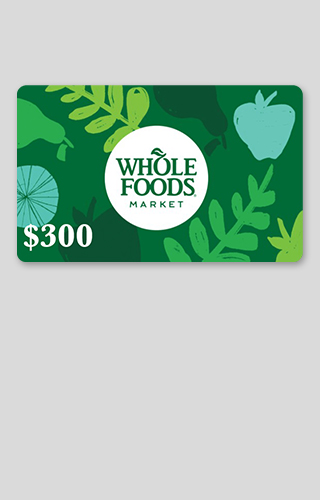 Carte-cadeau de 300 $ chez Whole Foods