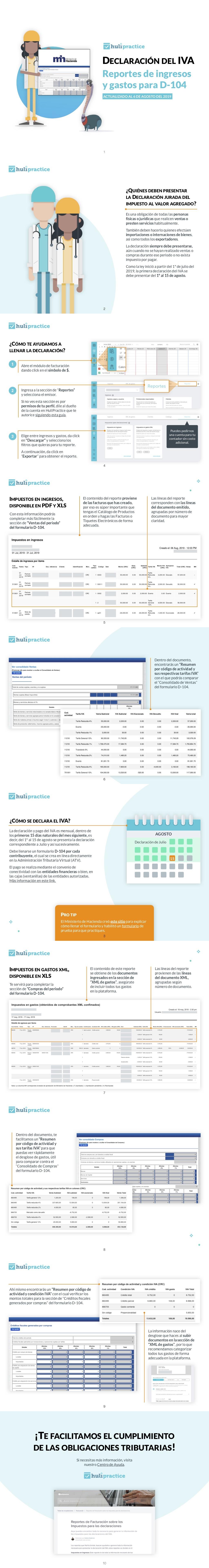 Reportes de ingresos y gastos para D-104