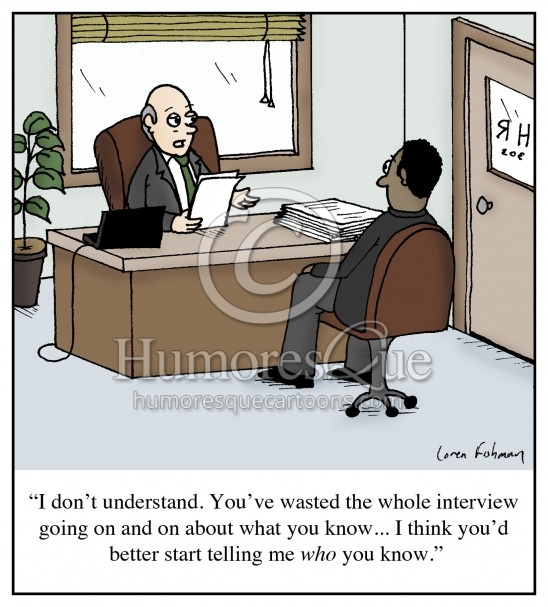 job interview networking cartoon