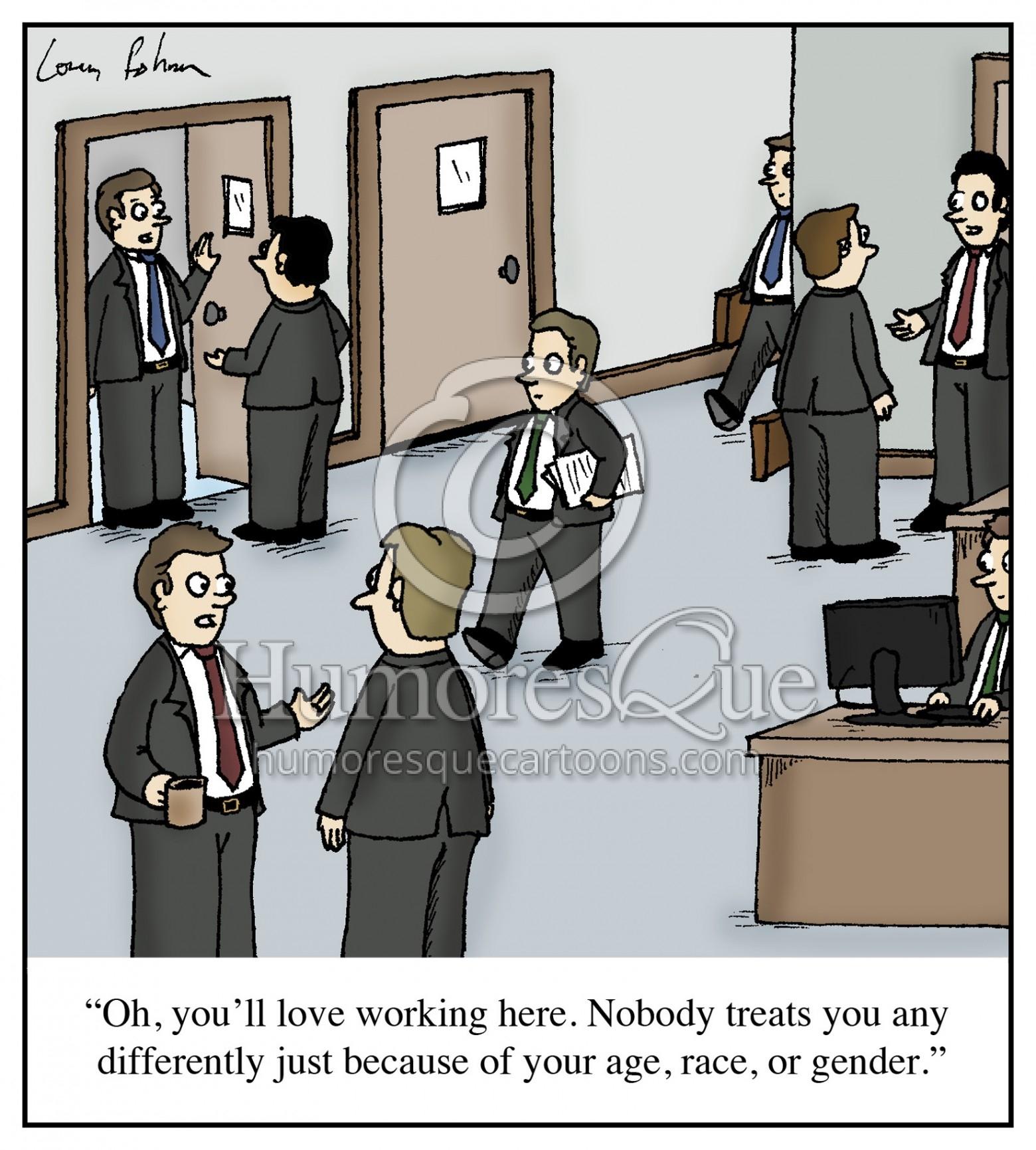 all white office race gender cartoon