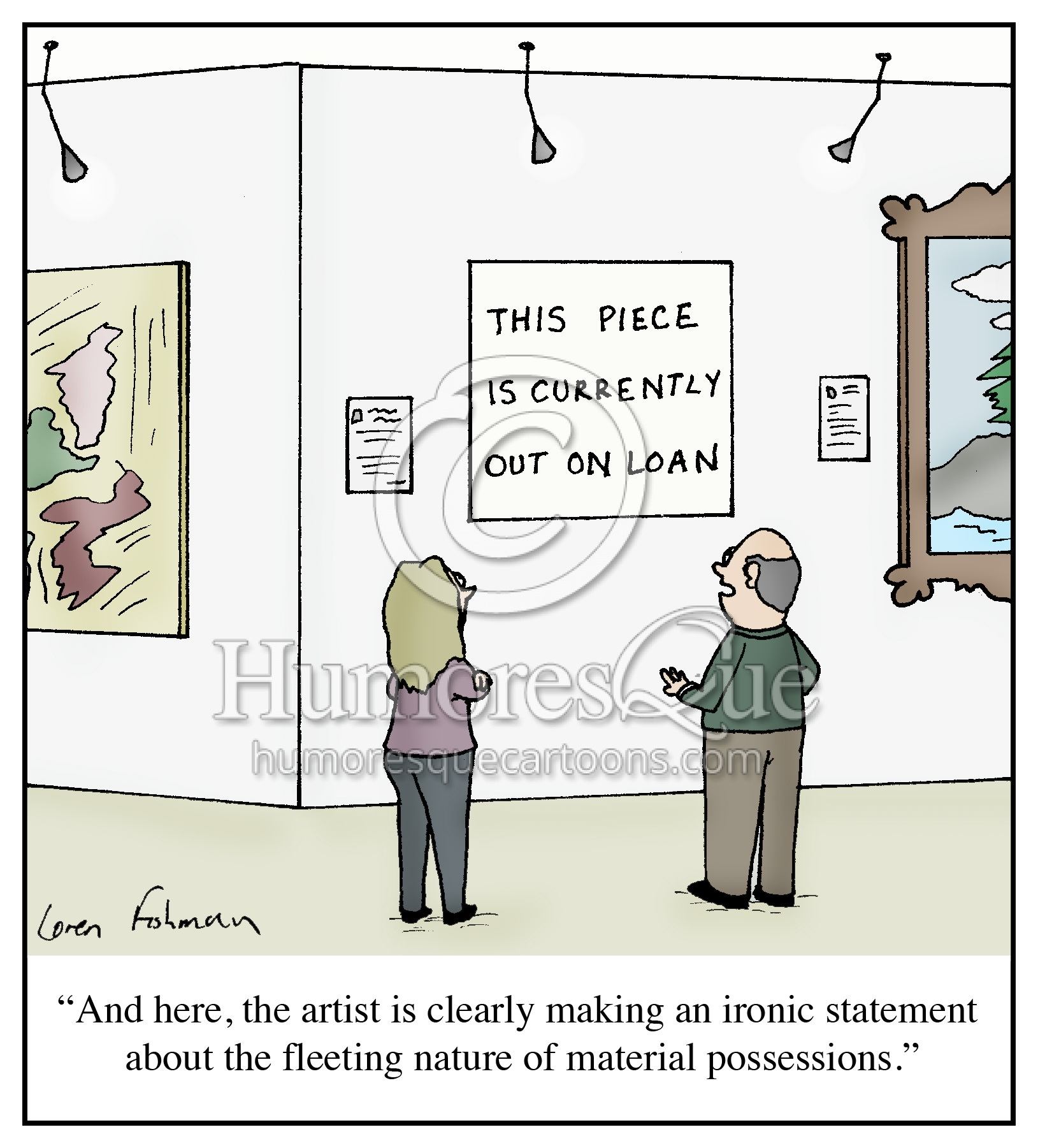museum piece out on loan modern art critic cartoon