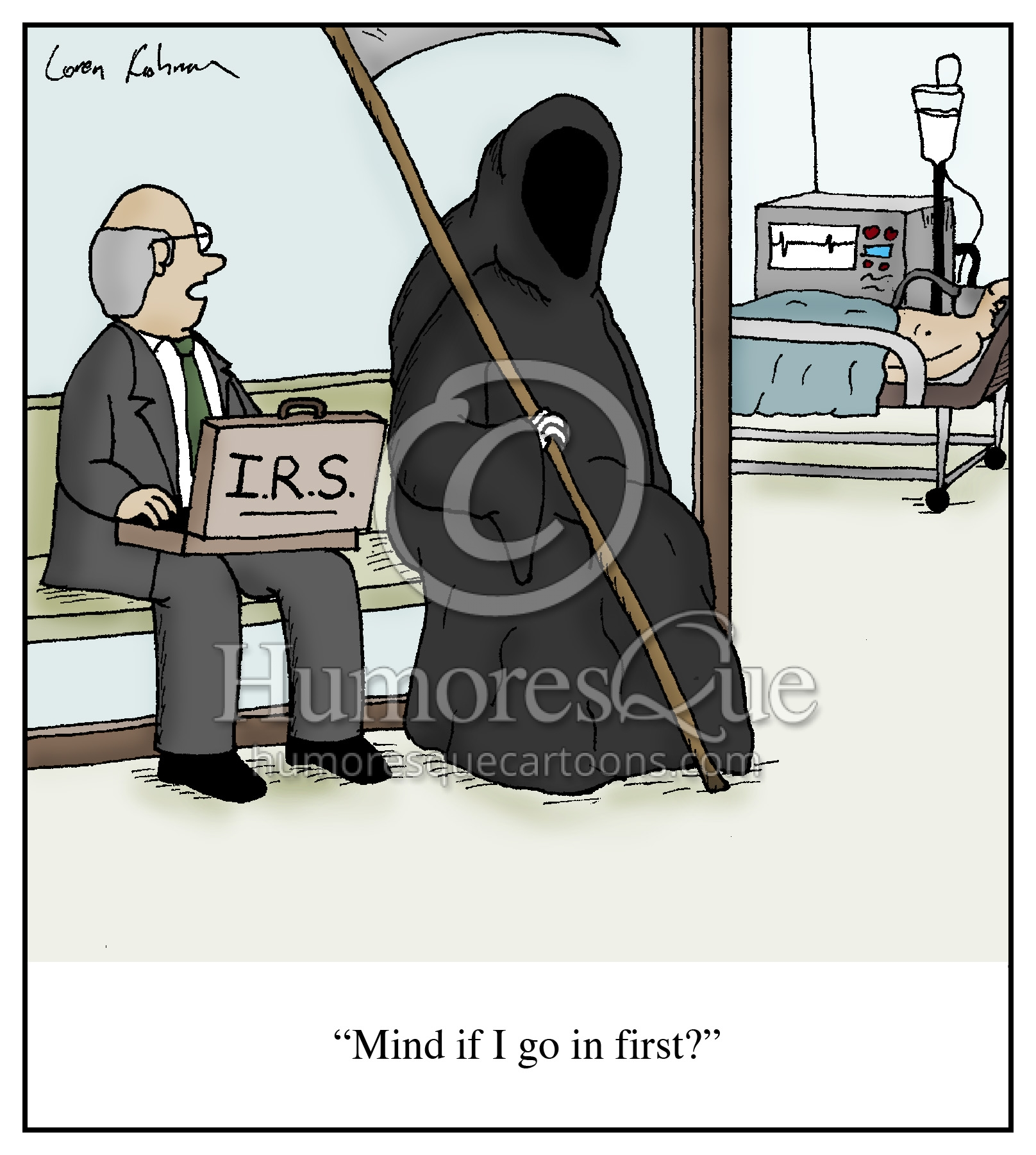 grim reaper and IRS agent wants to collect taxes cartoon