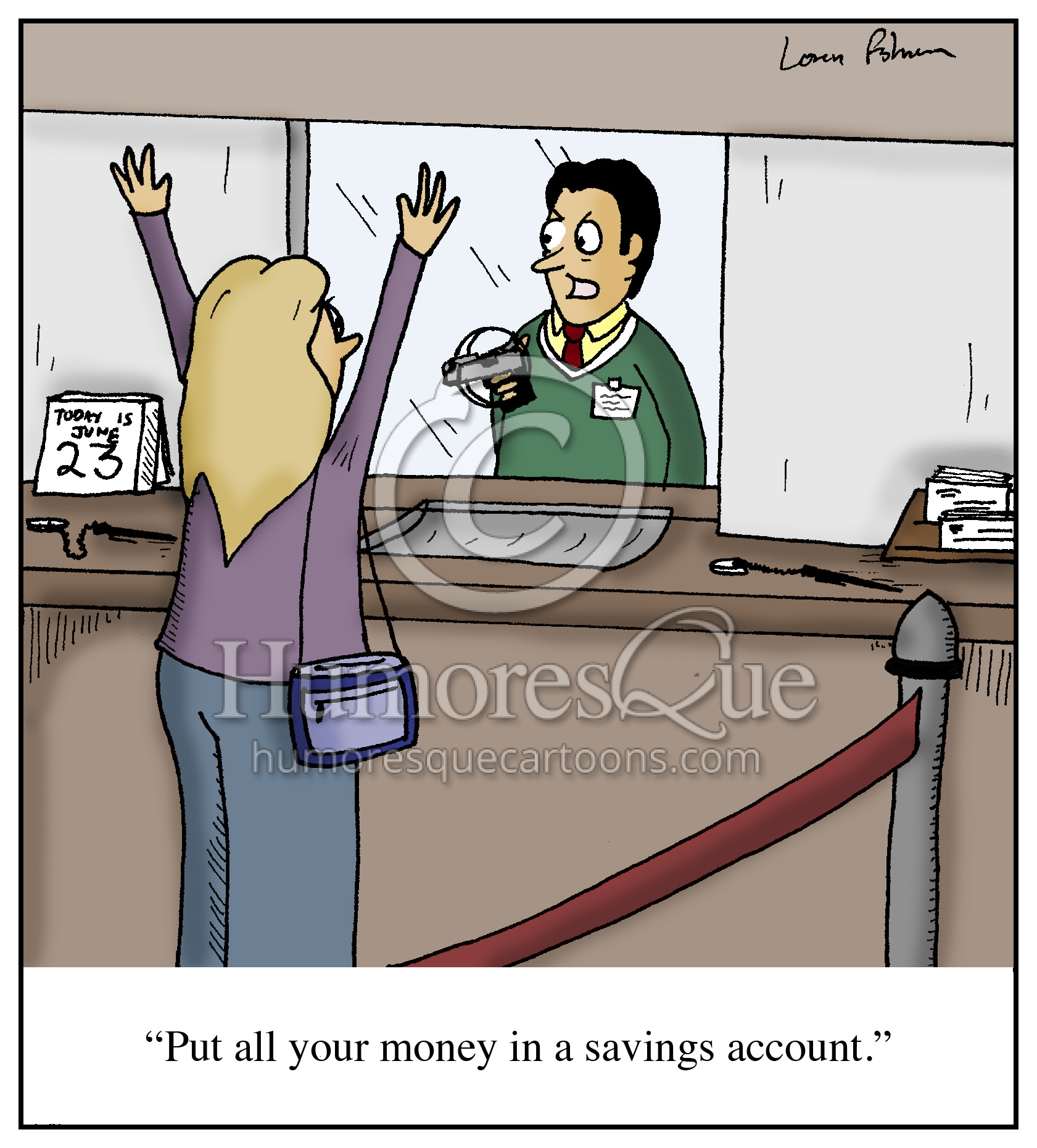 savings account bank robbery cartoon