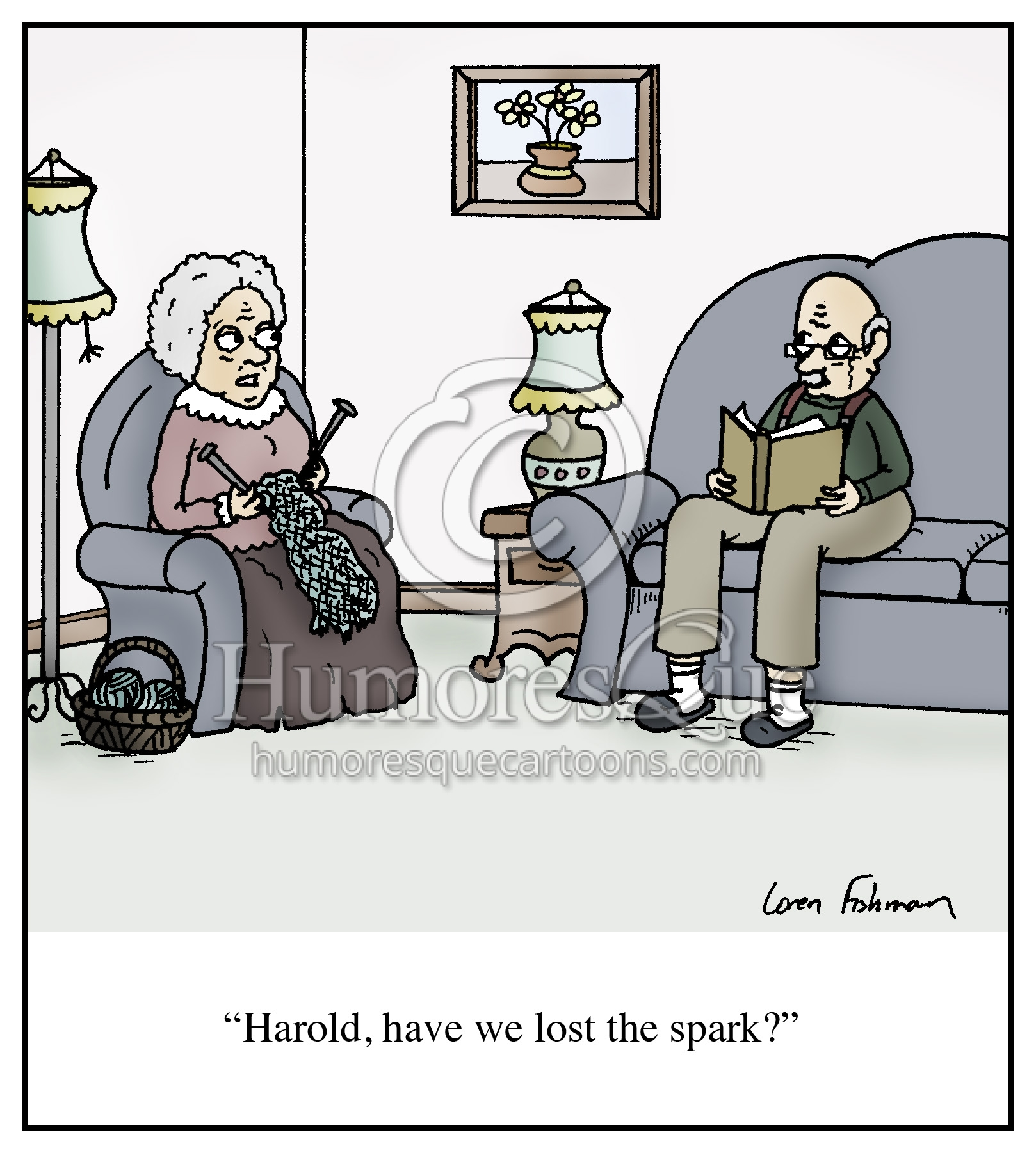 old couple lost the spark retirement cartoon