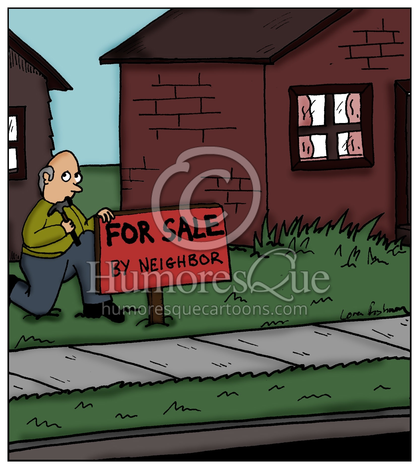 For sale by neighbor real estate cartoon