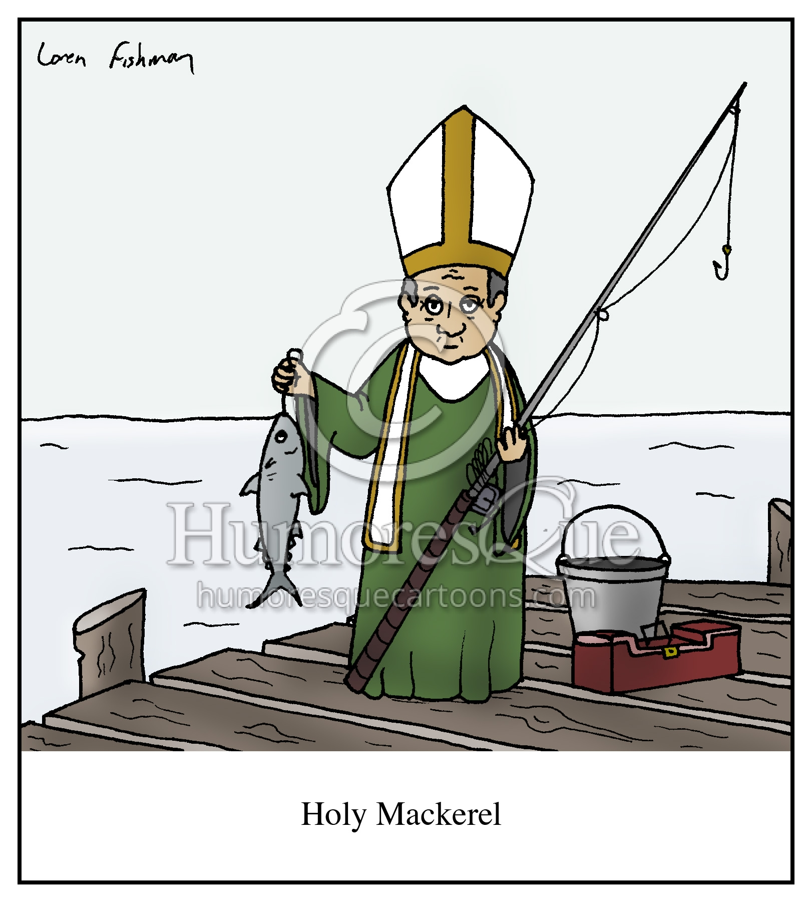 holy mackerel pope cartoon