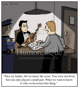 detective and violinist orchestration cartoon